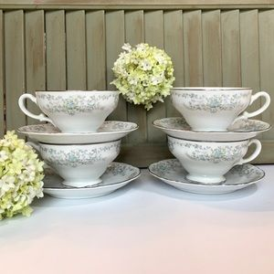 (4) Norleans China Theresa Footed Cup & Saucer